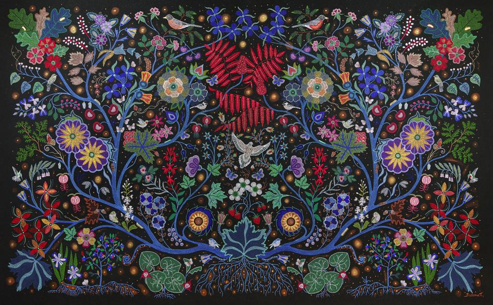 Christi Belcourt (Métis), 'The Wisdom of the Universe,' 2014, acrylic on canvas; Art Gallery Ontario, Toronto; Purchased with funds donated by Greg Latremoille. © CHRISTI BELCOURT
