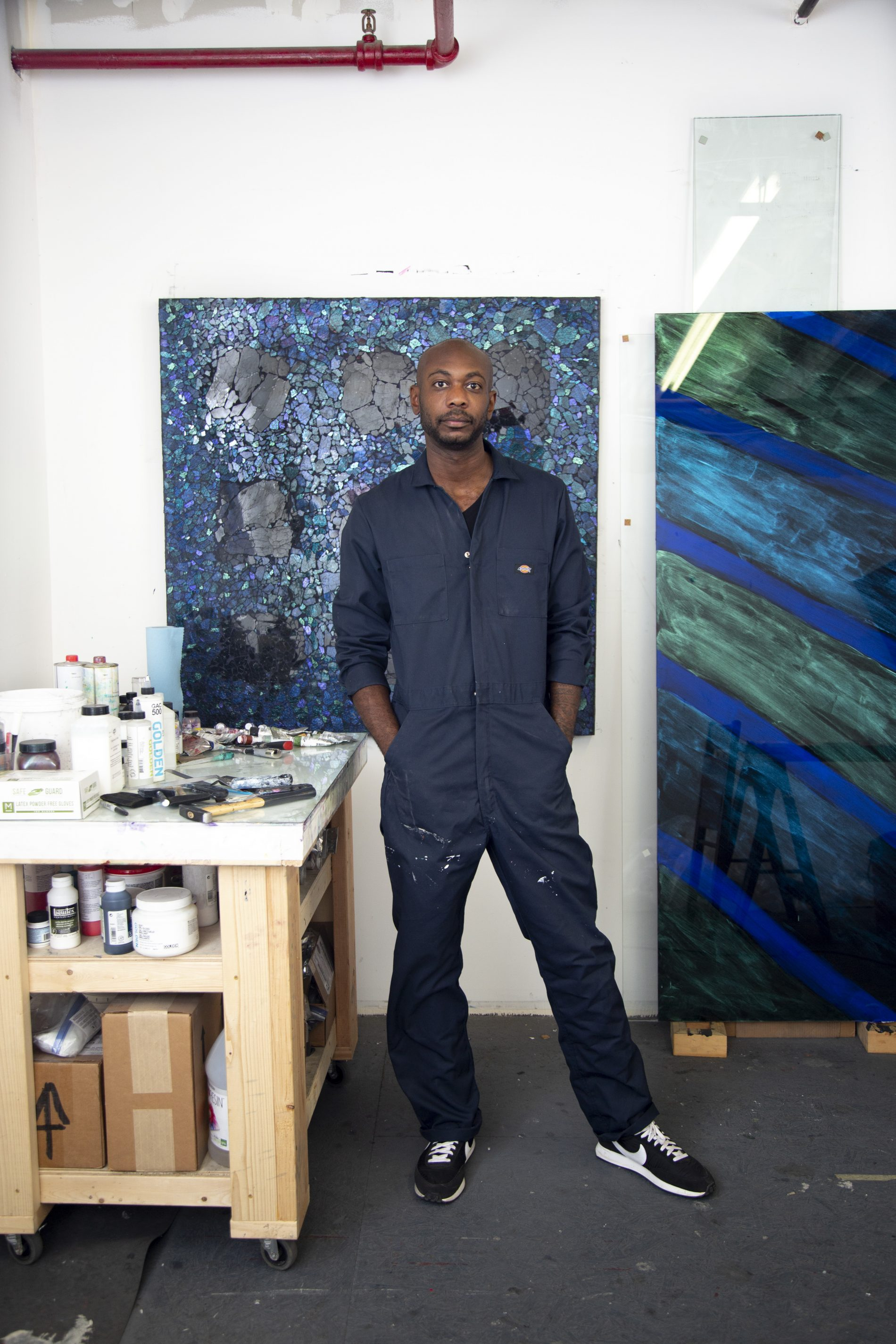 Alteronce Gumby in his studio, photo by Elizabeth Brooks, courtesy Charles Moffett gallery.