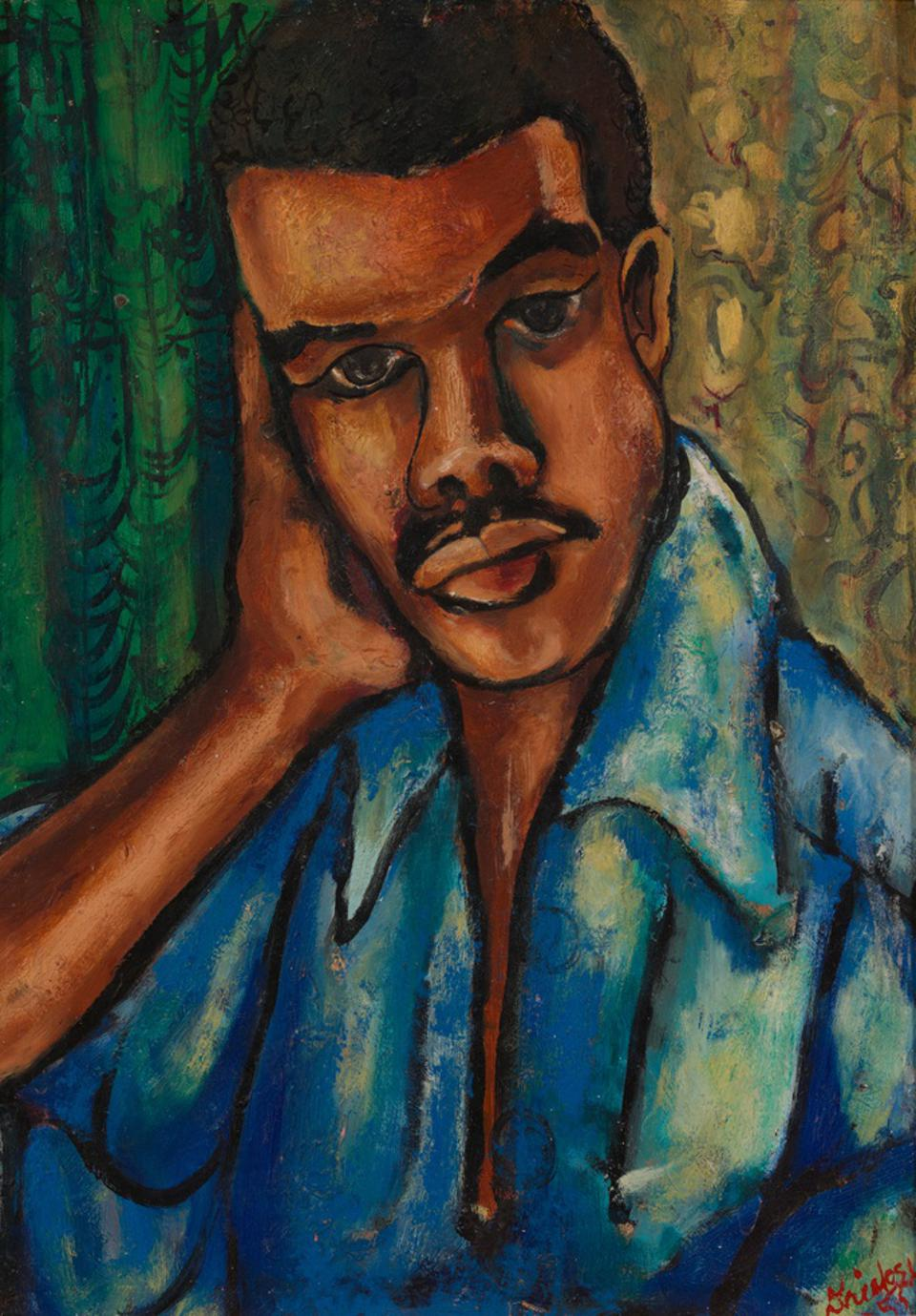 David C. Driskell (American, 1931–2020), 'Self-Portrait,' 1953, oil on board, collection of the Estate of David C. Driskell, Maryland. © ESTATE OF DAVID C. DRISKELL. COURTESY DC MOORE GALLERY, NEW YORK. PHOTOGRAPH BY LUC DEMERS.