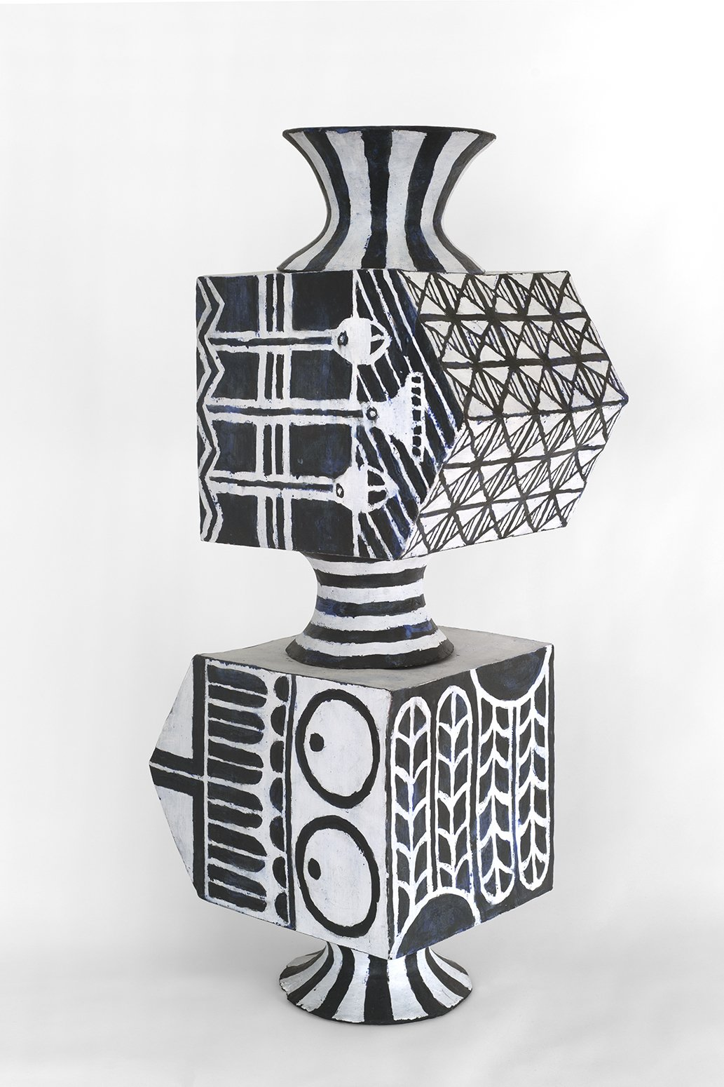 Elisabeth Kley Double Stack Pointing Two Ways , 2021 Glazed earthenware 44 × 17 × 13 1/2 inches