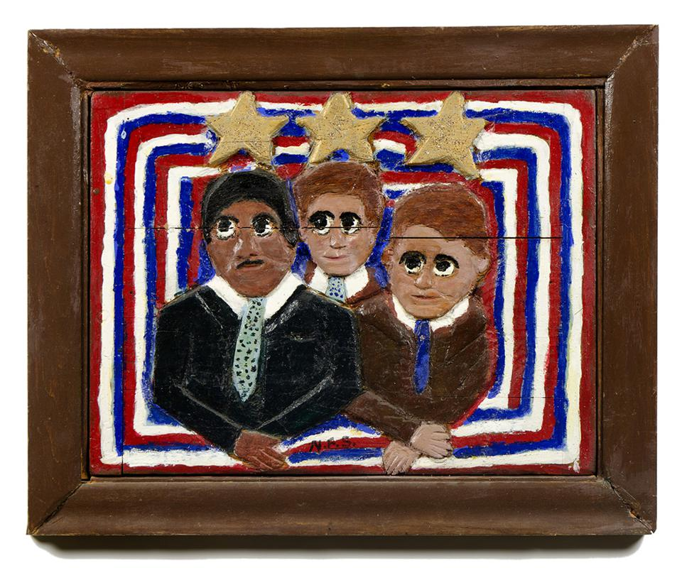 Elijah Pierce (American, 1892–1984), 'Martin Luther King Jr. and the Kennedy Brothers,' 1977. Paint and glitter on carved wood 21 1/4 × 26 1/4 × 1 1/2 in. (54 × 66.7 × 3.8 cm)