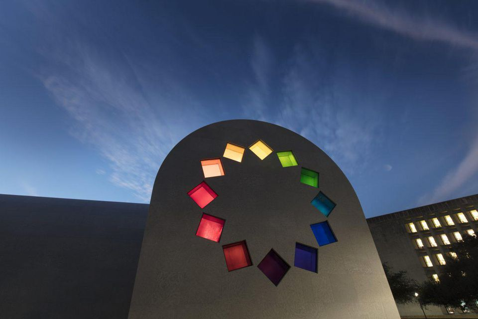 Ellsworth Kelly, Austin, 2015 (East façade) Artist-designed building with installation of colored glass windows, black and white marble panels, and redwood totem 60 ft. x 73 ft. x 26 ft. 4 in.