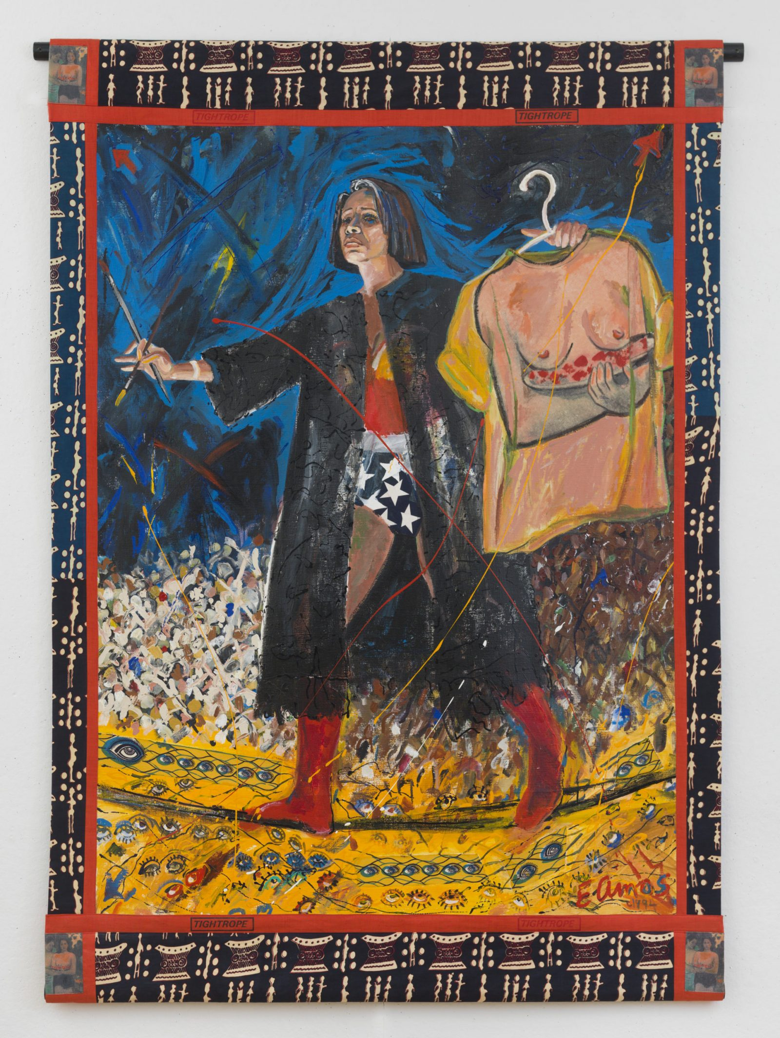 "Emma Amos, ""Tightrope,"" 1994. Acrylic on canvas with African fabric borders, 82 × 58 inches."