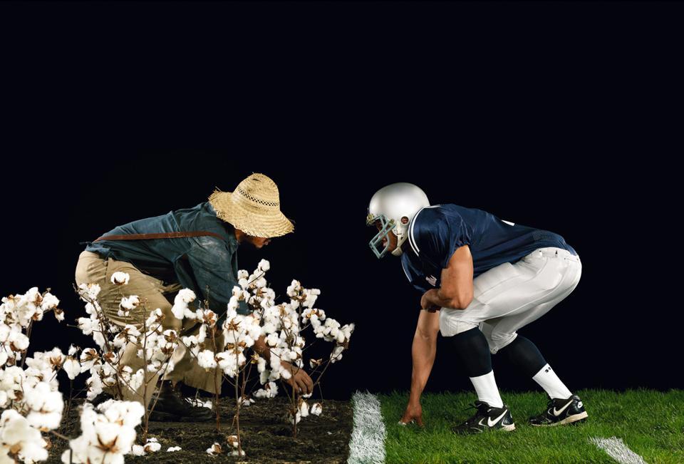 Hank Willis Thomas (American, born 1976), 'The Cotton Bowl,' from the series, 'Strange Fruit,' 2011. Chromogenic print, 50 15/16 × 74 7/16 × 1 1/2 inches.