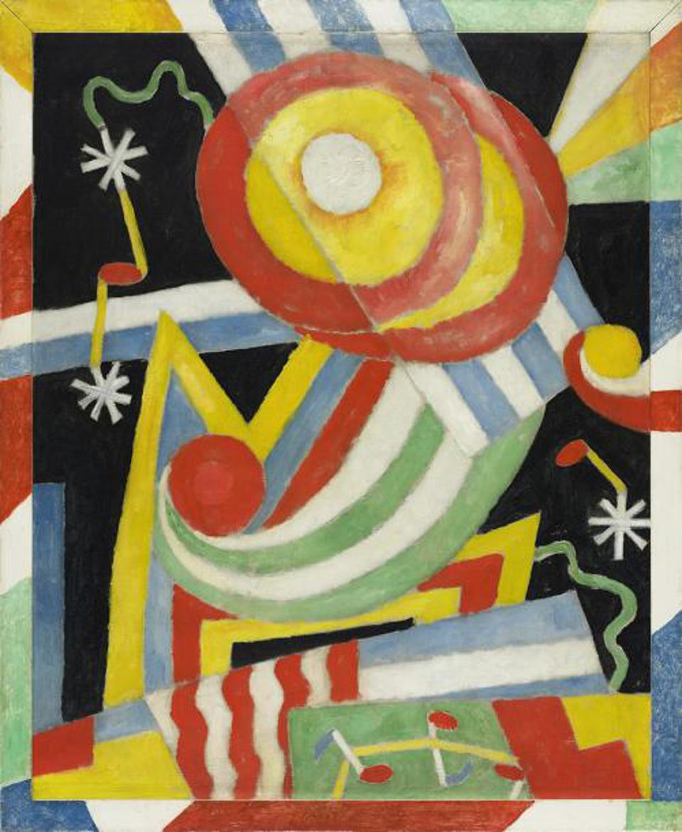 'Painting No. 3,' by Marsden Hartley (1877 - 1943). DATE 1913. Oil on canvas, 42 x 34 1/2 in. (106.7 x 87.6 cm).ALFRED STIEGLITZ COLLECTION, CO-OWNED BY FISK UNIVERSITY, NASHVILLE, TENNESSEE, AND CRYSTAL BRIDGES MUSEUM OF AMERICAN ART, BENTONVILLE, ARKANSAS