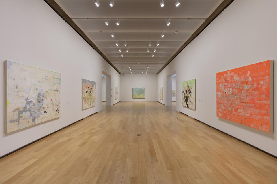 Installation of 'Mark Bradford: End Papers' at the Modern Art Museum of Fort Worth. MODERN ART MUSEUM OF FORT WORTH.