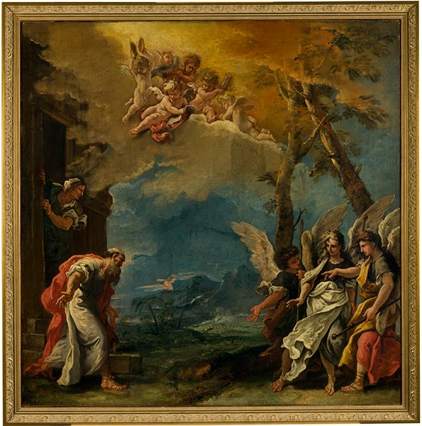 Sebastiano Ricci (Italian, 1659–1734), Abraham and the Three Angels, about 1695, oil on canvas, The Selldorff Family in memory of Richard Neumann.