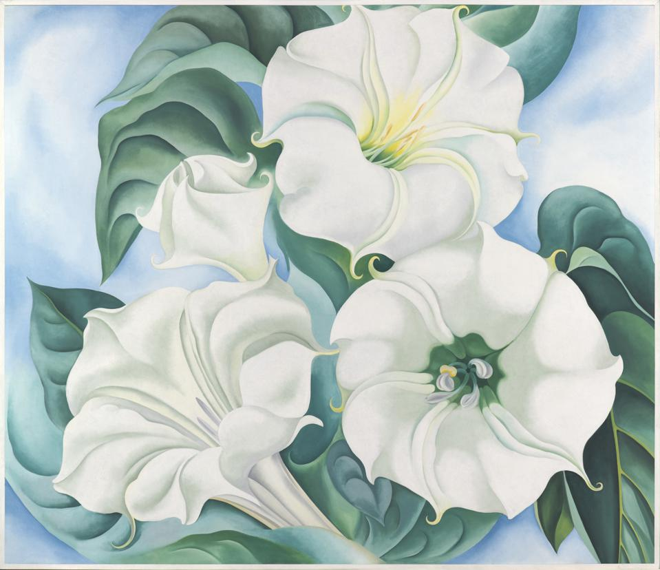 Georgia O'Keeffe (American, 1887–1986), Jimson Weed, 1936, oil on linen, 70 × 83-1/2 in. Indianapolis Museum of Art at Newfields, Gift of Eli Lilly and Company, 1997.131 © Georgia O'Keeffe Museum / Artists Rights Society (ARS), New York. IMAGE COURTESY OF NEWFIELDS