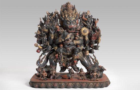Vajrabhairava; 15th century or later; Sino-Tibetan; polychromed wood; 53 1/4 x 50 3/4 x 30 3/4 in. (135.3 x 128.9 x 78.1 cm).