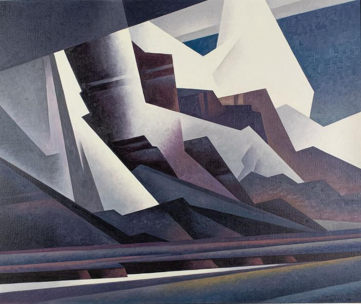 Ed Mell's Cascading Canyon Storm (2021), 40x48 inches.