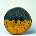 Double-Sided Drum, ca. 1890. George Beaver, Chahiksichahiks (Pawnee), Oklahoma. Rawhide, wood, iron nails, tacks, pigments.