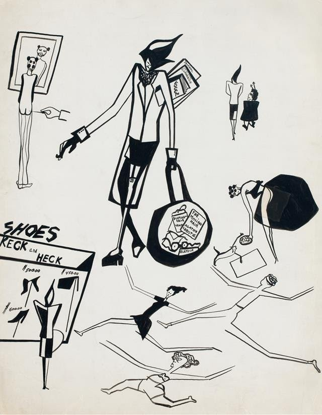 Jacob Lawrence Untitled (Sketches of Gwen), ca. 1948 Brush and ink on cardboard 28 x 22 inches