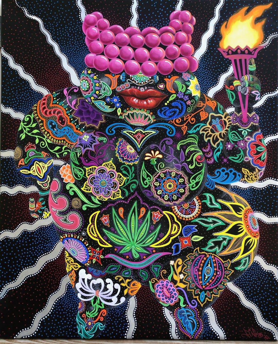 Lady Pink art, 'Black Venus,' 2020. 44x36 Acrylic on Canvas