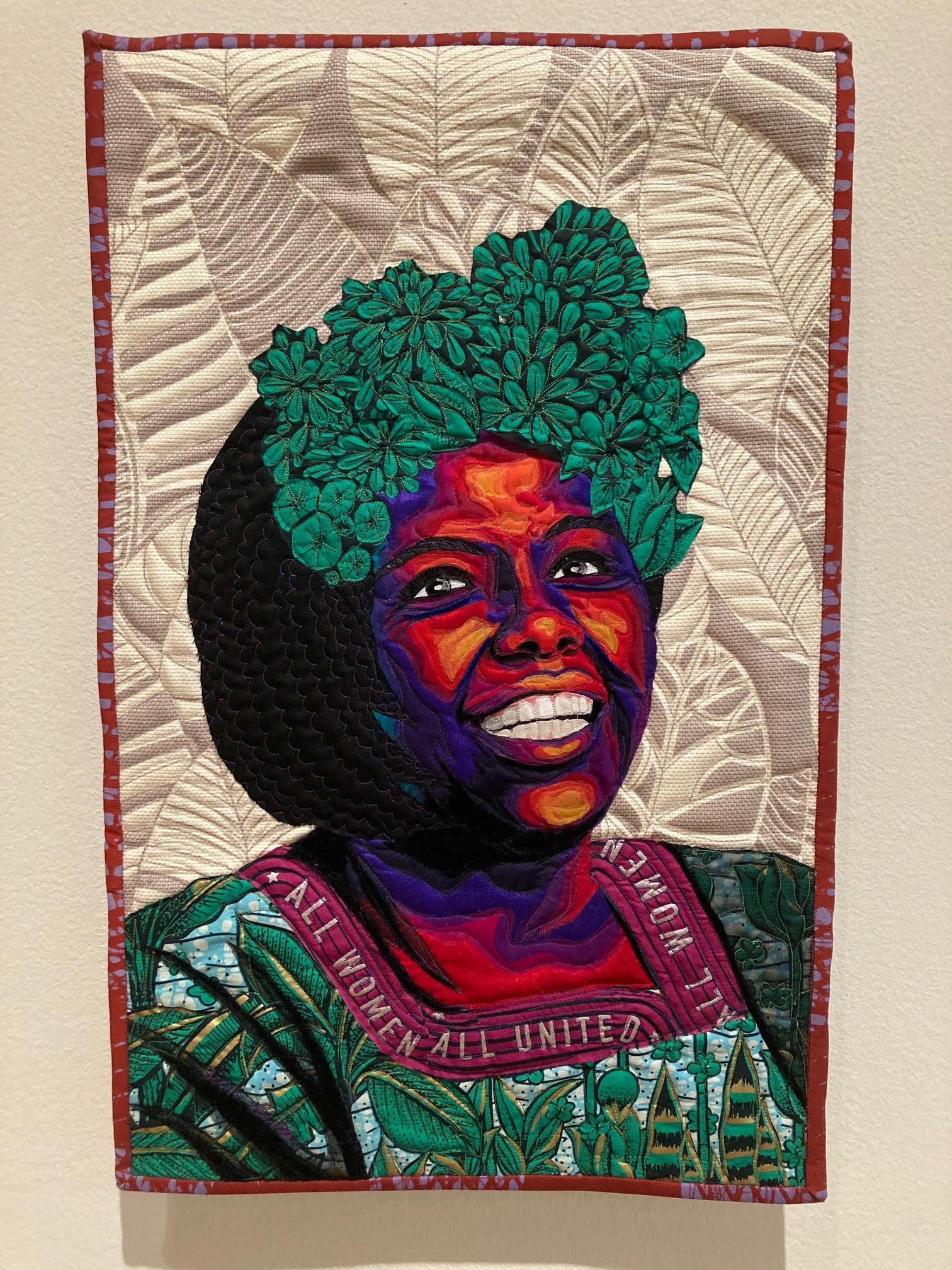 Bisa Butler quilt portrait, Wangari Maathai, 2020. Quilted wax print fabric. Orlando Museum of Art.