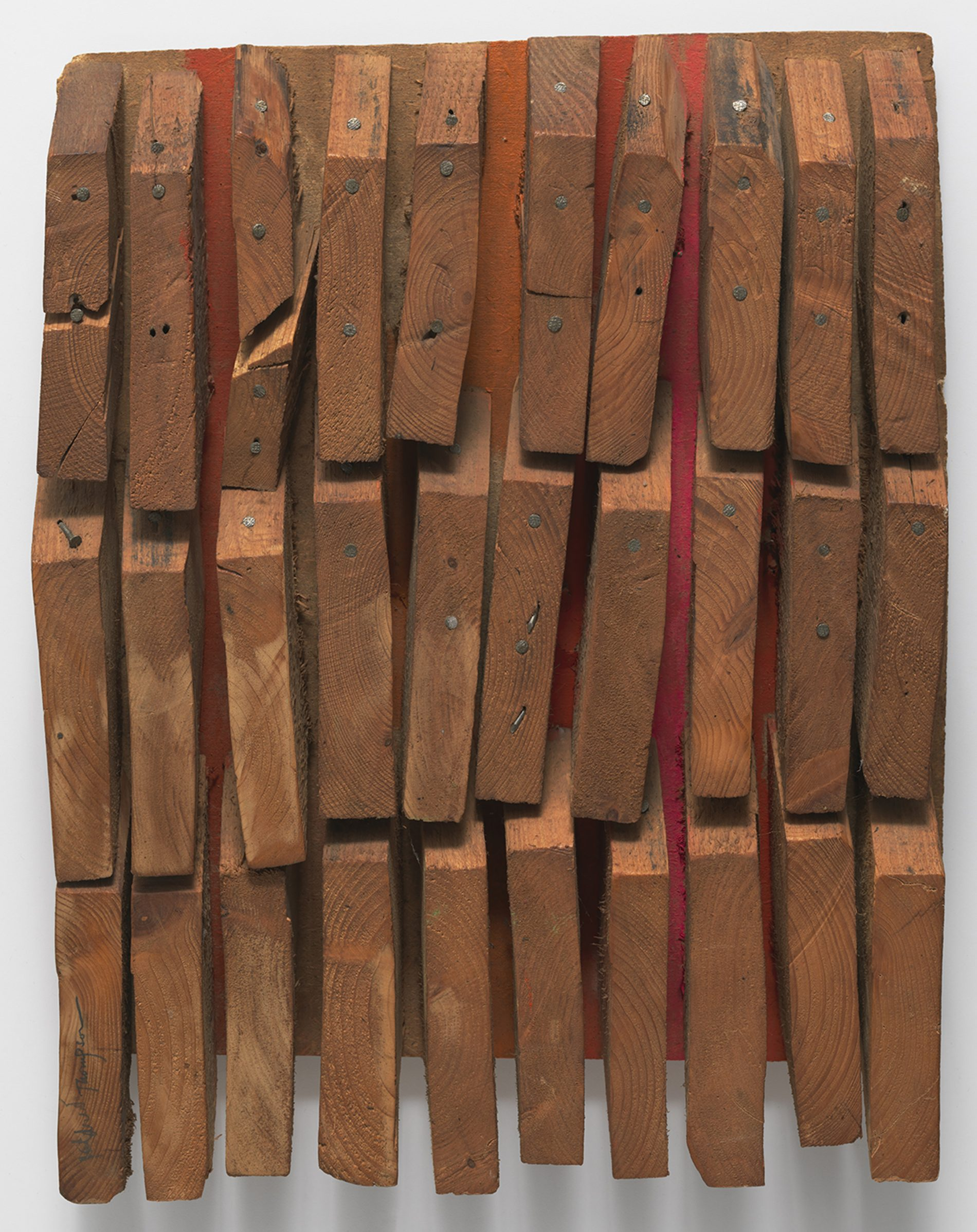 Mildred Thompson Wood Picture , c. 1967 Signed lower left Found wood and nails 20.5 x 15.75 x 2.75 inches (52.1 x 40 x 7 cm) © Estate of Mildred Thompson Courtesy Galerie Lelong & Co. , New York