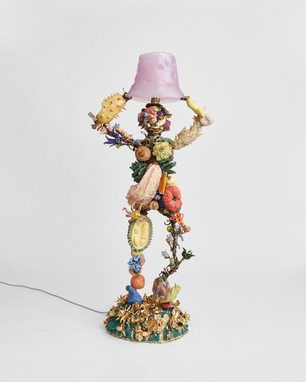 "Katie Stout, Jane "" 2021. Ceramic, bronze, glass, gold luster; 69 x 32 x 17 in ( 175.3 x 81.3 x 43.2 cm ). Courtesy the artist and Venus Over Manhattan, New York. Photo: Blaine Davis"