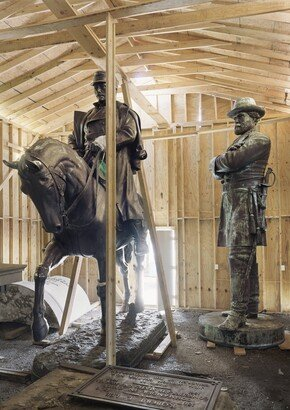 An-My Lê (b. 1960), Fragment VI: General Robert E. Lee and P. G. T. Beauregard Monuments, Homeland Security Storage, New Orleans, 2017, inkjet print, © An-My Lê. Courtesy of the artist and Marian Goodman Gallery, New York, Paris, and London