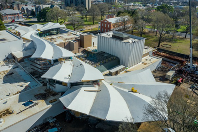 Aerial view of the Arkansas Museum of Fine Arts under construction. Photo credit: Timothy Hursley. Courtesy of Arkansas Museum of Fine Arts and Studio Gang.
