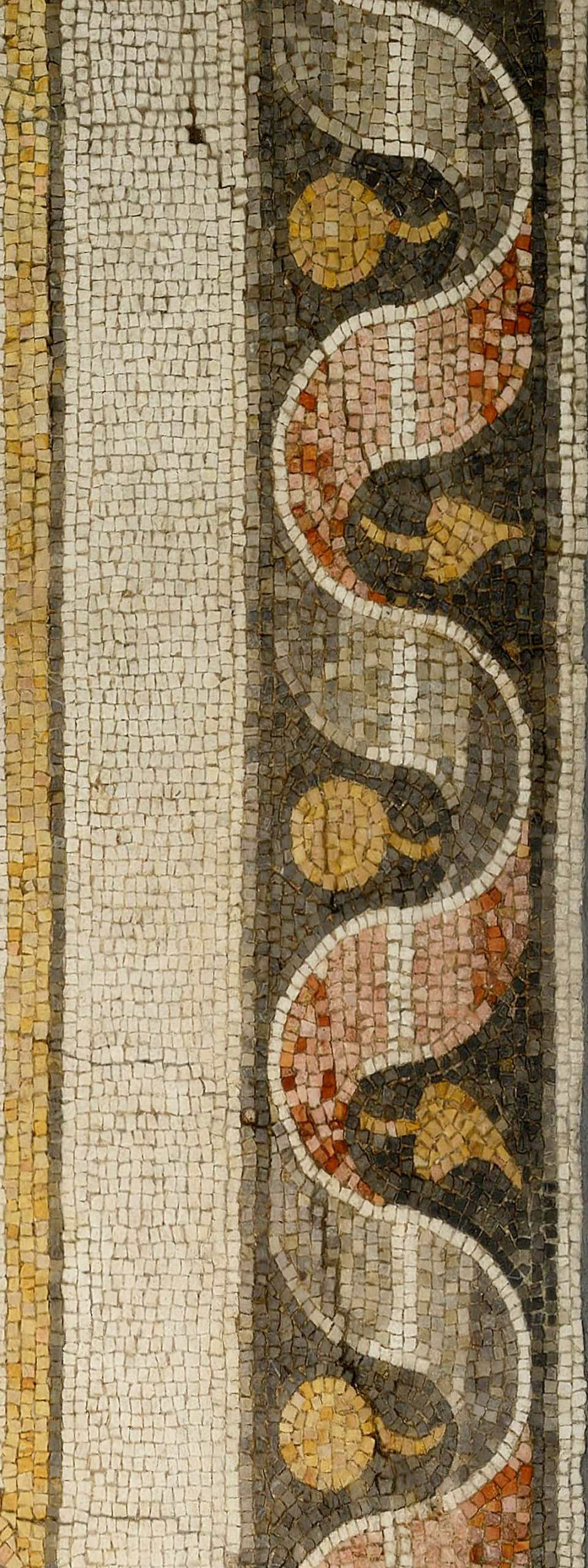 Roman, Antioch, Mosaic fragment from The House of Ge and the Seasons (detail), c. AD 200 — 300, Stone Tesserae, Museum purchase, Museum of Fine Arts, St. Petersburg