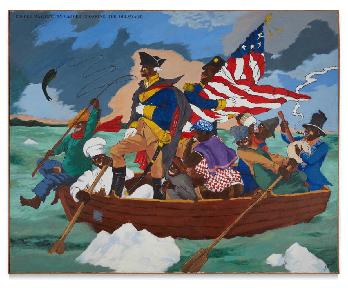 Robert Colescott, George Washington Carver Crossing the Delaware: Page from an American History Textbook, 1975