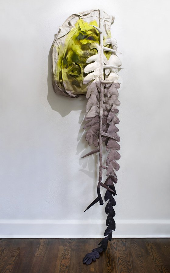Cynthia Mason, Altar with Limp Pricks and Plants in Rising Water MMXX, 2020. shredded documents, ink, acrylic, fabric dye, mica, salt, velvet, grommets, gesso, canvas. 58x16x10 in.