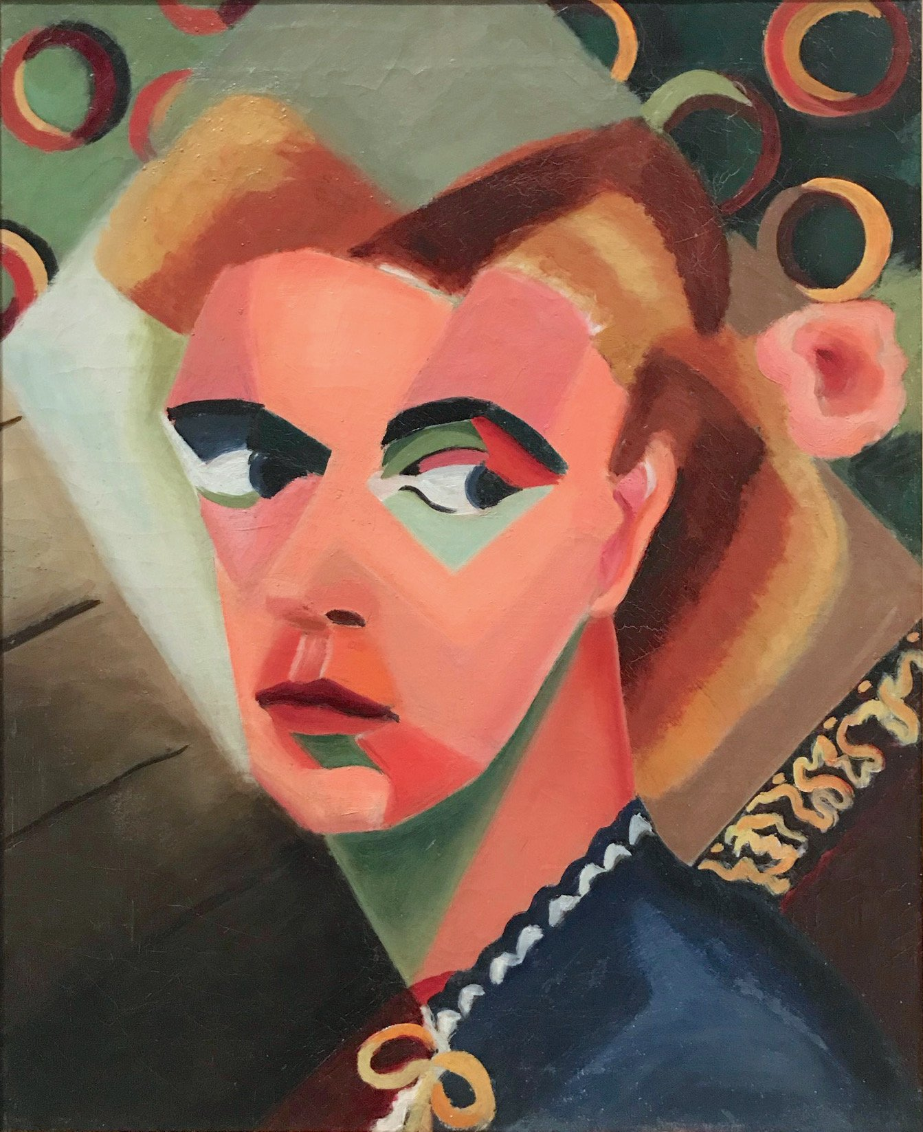 """Dusti Bongé self-portrait, 'The Balcony,' 1939 oil on canvas, 20"""" x 16"""". Collection of the Mississippi Museum of Art."""