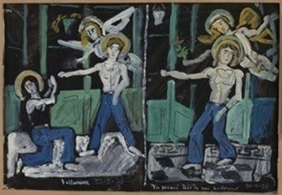 Yannis Tsarouchis, Two studies for the same subject – Three dancers in blue jeans and two figures of Eros with green doors, 1978 Gouache on paper.
