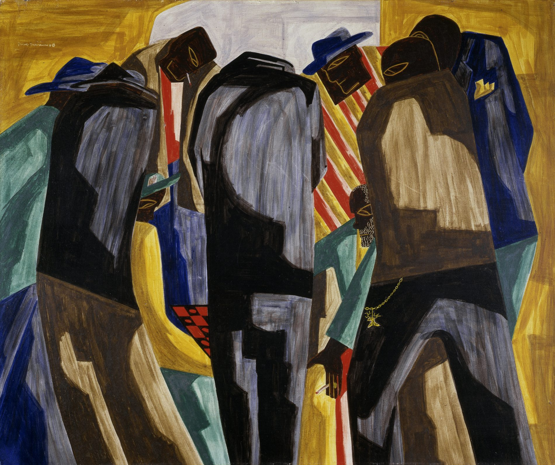Jacob Lawrence, Kibitzers, 1948. Egg tempera on Masonite, 20 x 24 inches. Gift from the Childe Hassam Fund of the American Academy of Arts and Letters, 1951.3