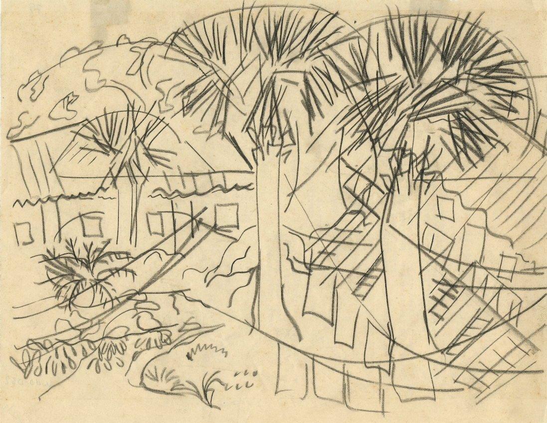 """Dusti Bongé, Study for Where the Shrimp Pickers Live, c.1940, graphite pencil onpaper, 5x 8"""", Paul BongéCollection."""