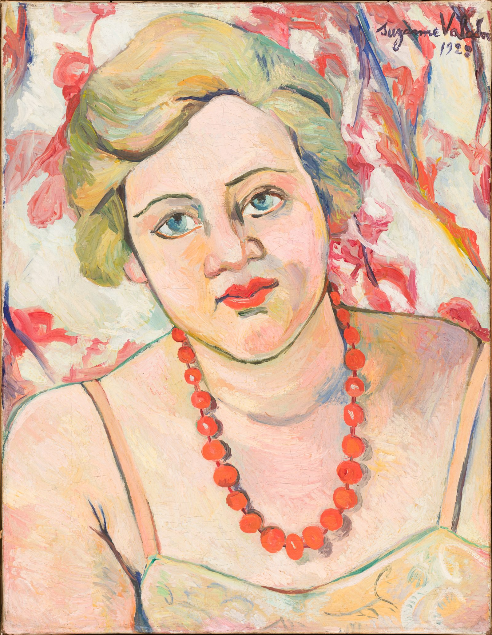 SUZANNE VALADON ( French, 1865 - 1938 ) Portrait of a Woman , 1928 Oil on canvas 13 3/4 x 10 ¾ in . (34.9 x 27.3 cm) Gift of Mr. and Mrs. William E. Benjamin, 2015.57