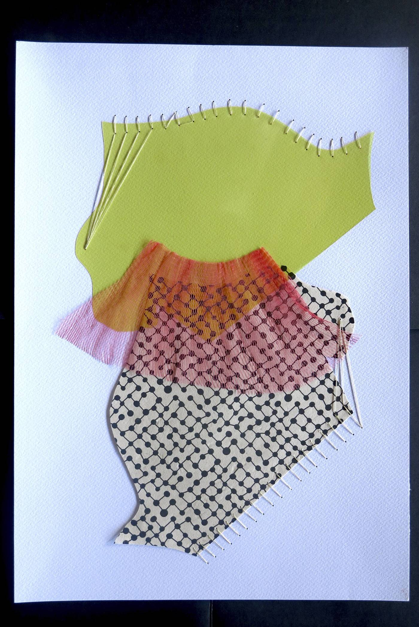 Maliza Kiasuwa, A Little Red, 2021 Collage, thread and Washi paper 18 x 14 in Courtesy of the artist and Morton Fine Art
