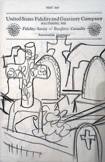 """Dusti Bongé, Untitled (Cemetery sketches), 1991, charcoal on paper, 9"""" x 7"""", United States Fidelity and Guarantee Company datebook."""