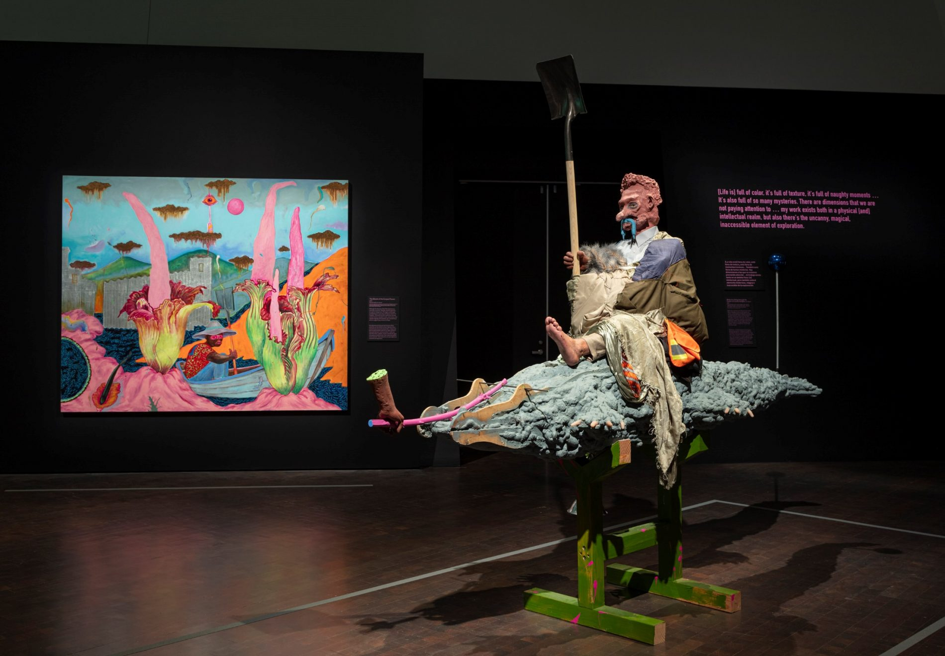 Denver Art Museum installation view of Simphiwe Ndzube: Oracles of the Pink Universe.