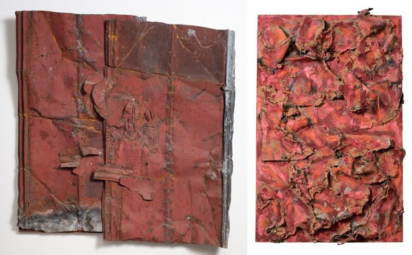 """Left: Ronald Lockett (American, 1965 – 1998), """"Undiscovered,"""" 1993. Rusted tin and colored pencil mounted on wood, 46 1/2 × 45 1/2 × 5 1/2 inches. Georgia Museum of Art, University of Georgia; Gift of Ron and June Shelp. GMOA 2019.309. Right: Thornton Dial Sr. (American, 1928 – 2016), """"Food Line,"""" 2008. Assemblage with various materials on plywood. Georgia Museum of Art, University of Georgia; Gift of Ron and June Shelp. GMOA 2011.611."""