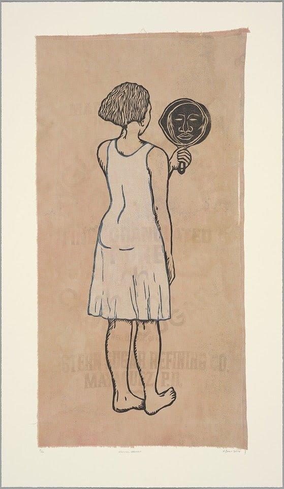 Alison Saar (American (b. 1956)). Mirror, Mirror; Mulatta Seeking Inner Negress, edition 8/10, 2014. Woodcut and chine colle on found sugar sack. 40 ½ x 23 ½ in. 2014.253