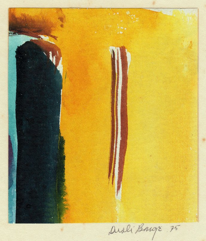 """Untitled (Yellow, Blue and Brown Abstract), 1975, watercolor on paper, 3 5/8"""" x 3 1/8"""". Private Collection"""