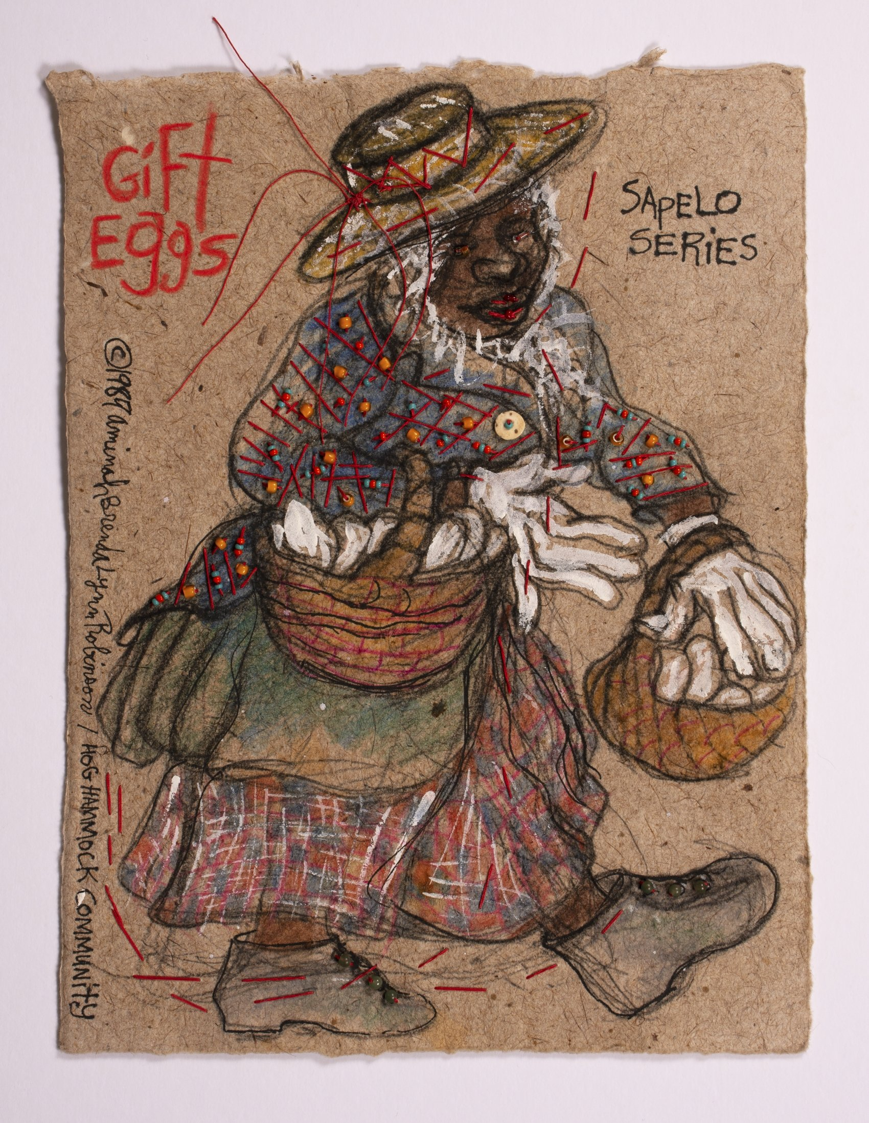 Aminah Brenda Lynn Robinson Gift Eggs, 1984 Rag painting with beads, 12 ½ x 9 ½ in. Columbus Museum of art, Estate of the Artist