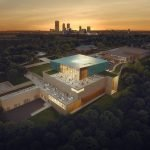 Aerial view overlooking the new Gilcrease Museum toward the downtown Tulsa skyline . Credit: Courtesy of Smith Group and Gilcrease Museum