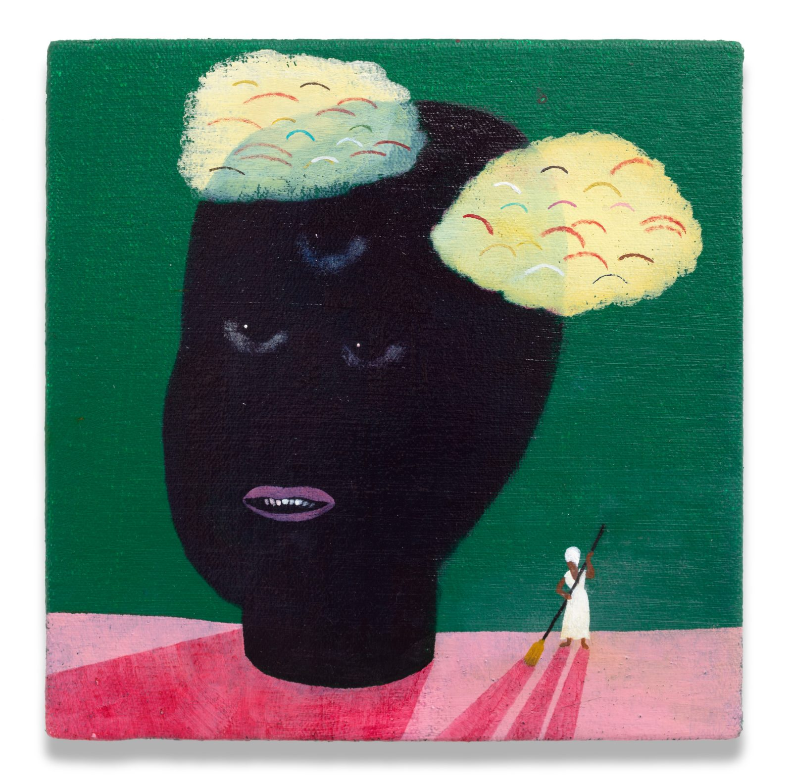 Kenny Rivero, Limpieza of the Head, 2020, oil on canvas stretched over panel, 8x8 inches, courtesy of the artist and Charles Moffett, New York. Photo credit Tom Barratt