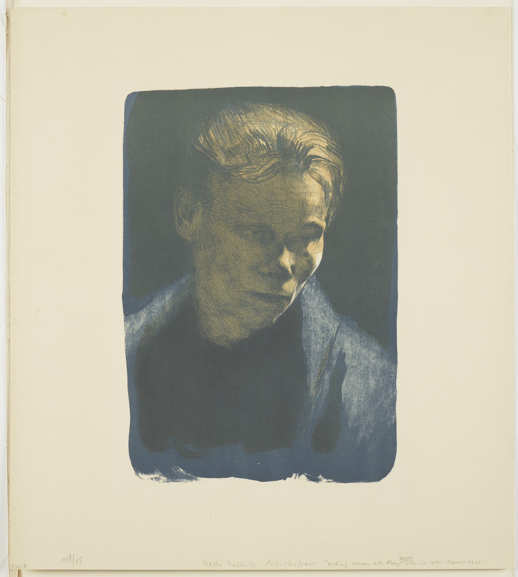 Käthe Kollwitz, (German, 1867-1945), Portrait of a Working Woman with Blue Shawl, 1903, Lithograph on wove paper, 19 ½ x 17 ½ in., Museum Purchase from the Wally Findlay Acquisition Fund, 1996.06