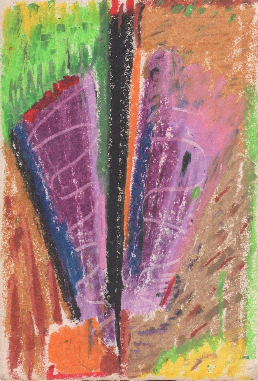 "Winsor Wirebound Sketch Book, page 1, 1980, pastel on paper, 8 ¾"" x 6"". Dusti Bonge Art Foundation."