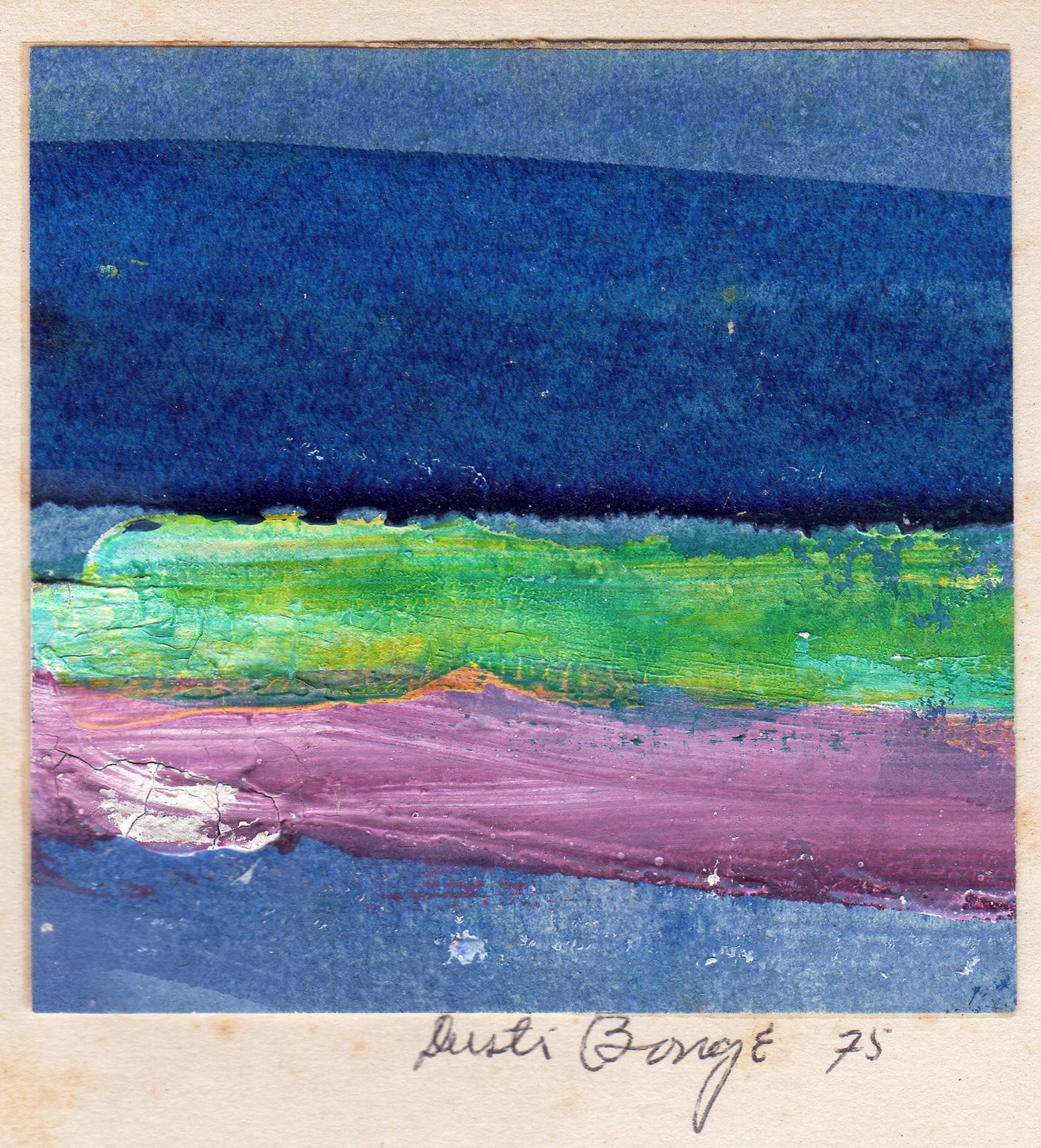 """Untitled (Blue, Green and Purple Abstract), 1975, acrylic on paper, 2 3/8"""" x 2 3/8"""""""