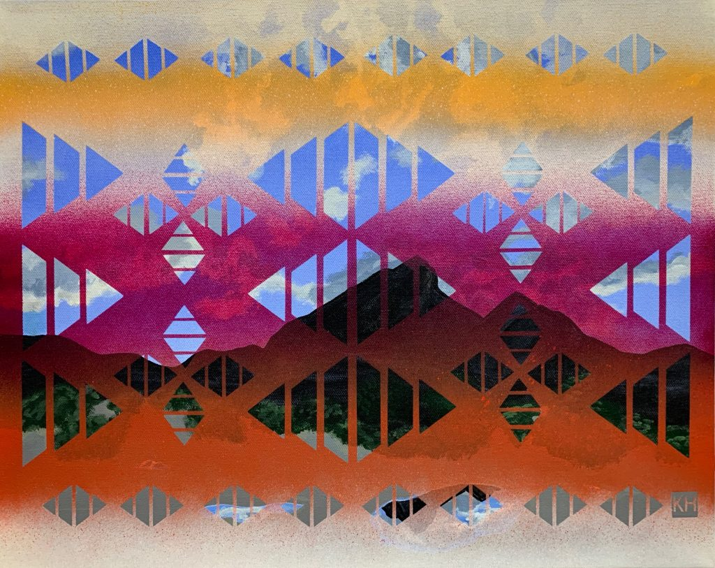 "Karma Henry, Ajo Sunset, acrylic on canvas, 16"" x 20"", 2019"