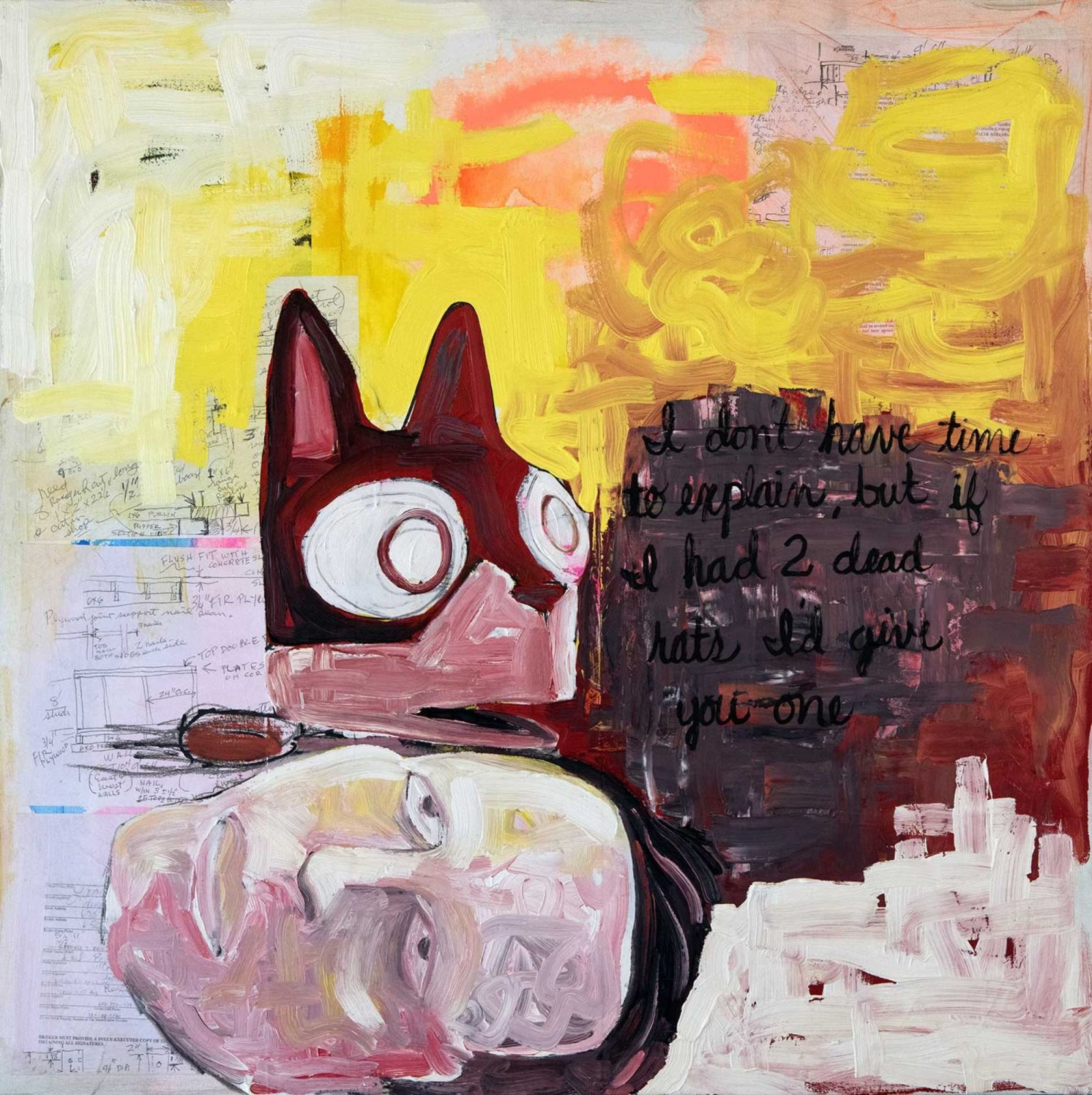 """Neal Ambrose Smith, Coyote Whispers in Italian, 2019, oil, acrylic and collage, 36 x 36,"""" copyright the artist."""