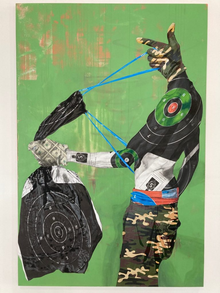 Overstreet Ducasse, Get the Bag, Get the Straps, 2021. Mixed media, 72 x48 inch. Courtesy of the artist.