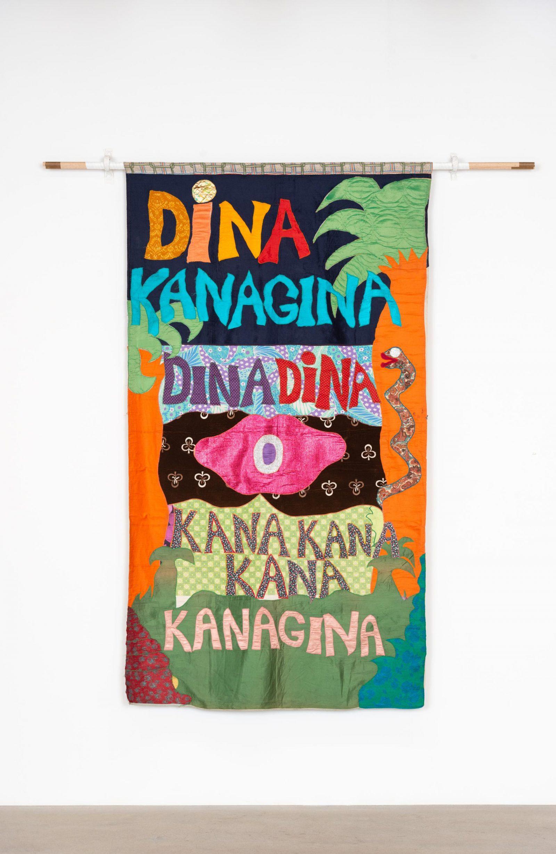 Moki Cherry, Dina Kanagina. Textile, 106 1/2 x 60 1/2 inches. Courtesy the Estate of Moki Cherry, Tågarp, Sweden and Corbett vs. Dempsey, Chicago. Photo by Aron Gent.