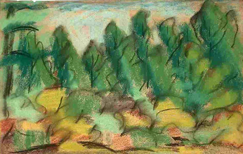 """Dusti Bongé landscape, Untitled (Landscape),1938, pastel on paper,10"""" x 15 ½"""""""