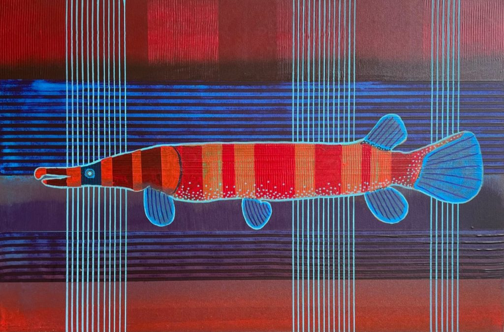 Billy Hensley, 'Hard Fish Pinstriped,' 2021. Acrylic on canvas, 24x36 inches.