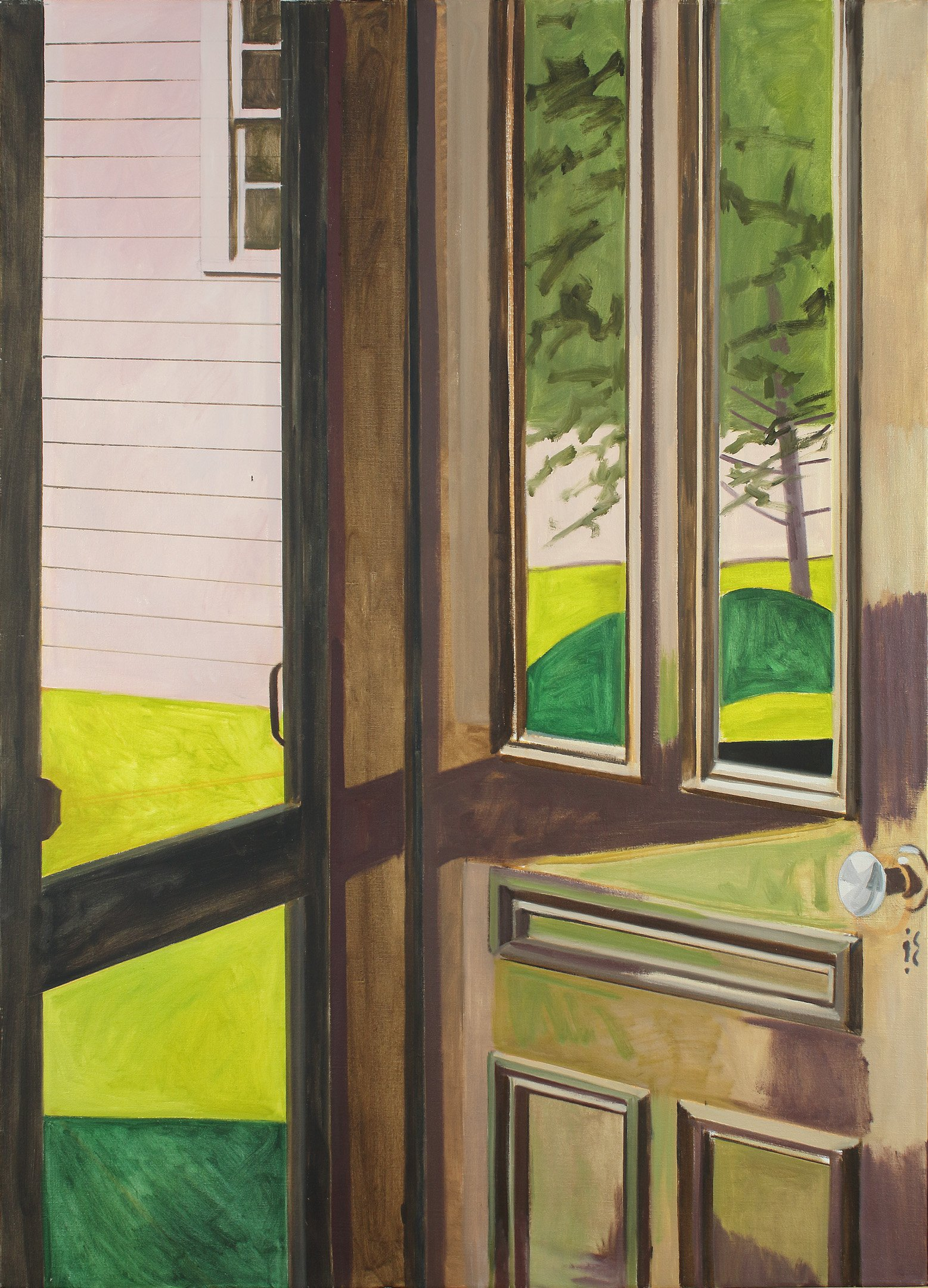 Lois Dodd, Open Door, Pink and Green, 1982. Oil on linen; 50 x 36 inches. (LD 588)