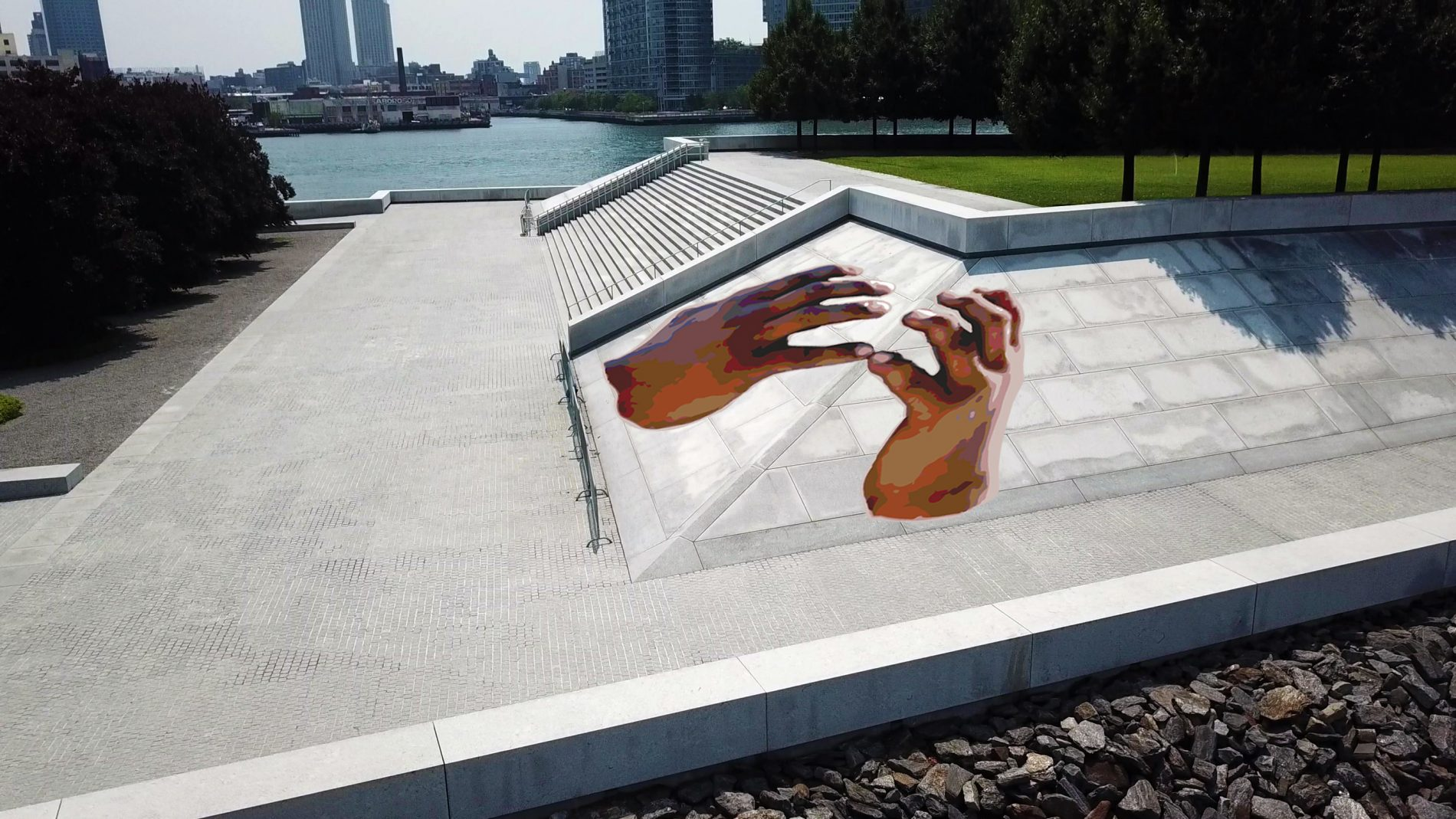 Rendering: Shaun Leonardo, Between Four Freedoms, 2021. Courtesy of the artist and Four Freedoms Park Conservancy.